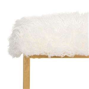 Safavieh Rowan Contemporary 20.00-in x 21.00-in White Glam Faux Sheepkin