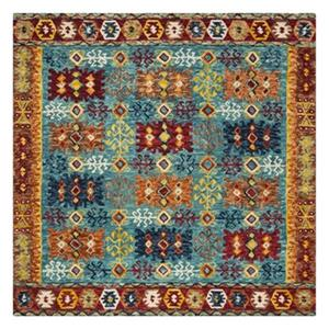 Aspen Blue, Red and Orange Hand Tufted Area Rug
