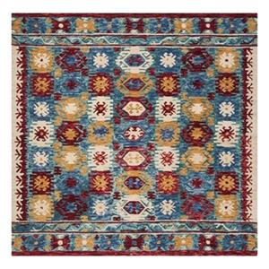 Aspen Blue and Red Hand Tufted Area Rug
