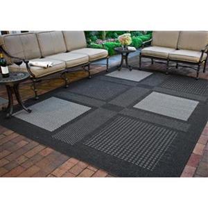 Safavieh Courtyard 8-ft x 11-ft Green/Black Block Indoor/Outdoor Area rug
