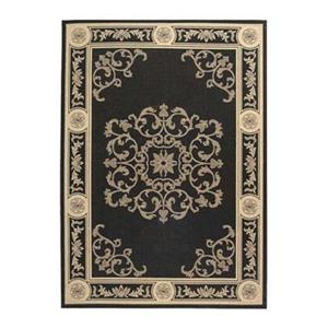 Safavieh Courtyard Black/Cream 132-in x 94-in Indoor/Outdoor Area Rug