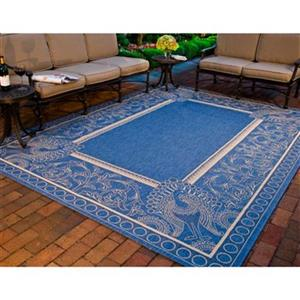 Safavieh Courtyard 11 ft x 8 ft Blue and Cream Indoor/Outdoor Area Rug