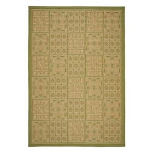 Safavieh Courtyard 134-in x 96-in Green/Cream Indoor/Outdoor Area Rug