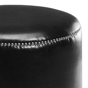 Safavieh Hogan 19.00-in x 19.00-in Black Faux Leather Ottoman