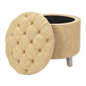 Safavieh Amelia Tufted 19.60-in x 20.80-in Gold Linen Storage Ottoman