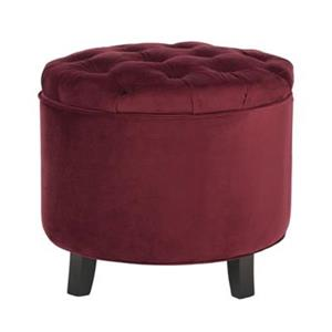Safavieh Amelia Tufted 19.60-in x 20.80-in Red Velvet Storage Ottoman