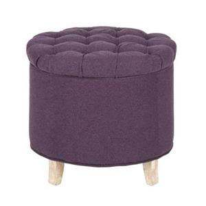 Safavieh Amelia Tufted 19.60-in x 20.80-in Plum Polyester Storage Ottoman