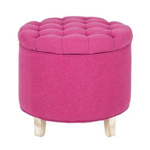 Safavieh Amelia Tufted 19.60-in x 20.80-in Berry Polyester Storage Ottoman