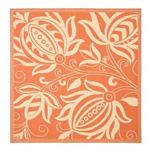 Safavieh Courtyard 134-in x 96-in Orange Indoor/Outdoor Area Rug