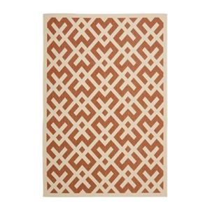 Safavieh Courtyard 134-in x 96-in Orange/Cream Indoor/Outdoor Area Rug