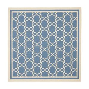 Safavieh Courtyard 134-in x 96-in Blue/Beige Indoor/Outdoor Area Rug