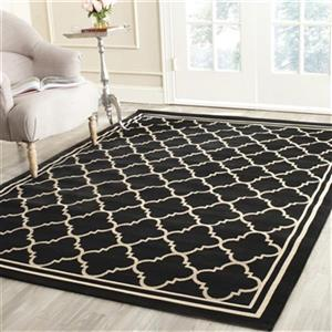 Safavieh Courtyard 134-in x 96-in Black/Beige Indoor/Outdoor Area Rug