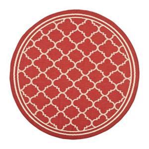 Safavieh Courtyard 134-in x 96-in Red/Cream Indoor/Outdoor Area Rug