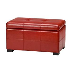 Safavieh Maiden Small Tufted Small 16.00-in x 29.00-in Red Faux Leather Storage Bench