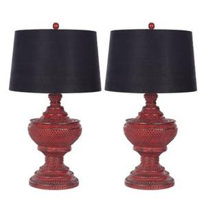 Safavieh 29-in Red/Black Chinese Urn Lamps (Set of 2)