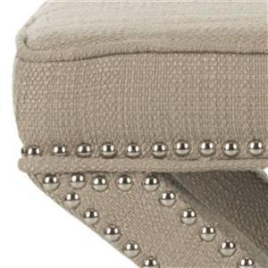 Safavieh Mercer Palmer 19.00-in x 21.50-in Biscuit Beige Polyester Fabric Ottoman