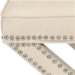 Safavieh Mercer Palmer 19.00-in x 21.50-in Beige Linen Fabric Ottoman