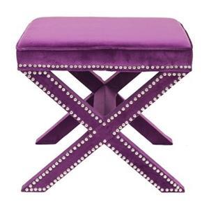 Safavieh Mercer Palmer 19.00-in x 21.50-in Plum Velvet Fabric Ottoman