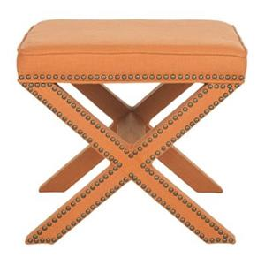 Safavieh Mercer Palmer 19.00-in x 21.50-in Orange Linen  Fabric Ottoman