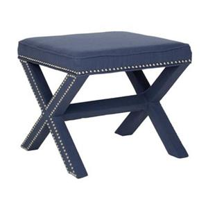 Safavieh Mercer Palmer 19.00-in x 21.50-in Navy Polyester Fabric Ottoman