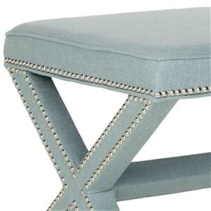 Safavieh Mercer Palmer 19.00-in x 21.50-in Sky Blue Polyester Fabric Ottoman