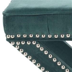 Safavieh Mercer Palmer 19.00-in x 21.50-in Marine Velvet Fabric Ottoman