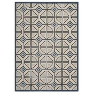 Courtyard Beige and Navy Area Rug
