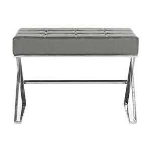 Safavieh Fox Micha 18.90-in x 25.20-in Gray Faux Leather Ottoman