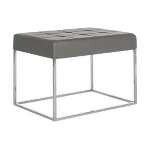 Safavieh Fox Roitfeld 18.90-in x 25.20-in Gray Faux Leather Ottoman