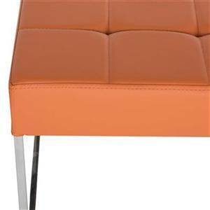 Safavieh Fox Roitfeld 18.90-in x 25.20-in Orange Faux Leather Ottoman