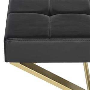 Safavieh Fox Badgley 19.80-in x 24.50-in Black Faux Leather Ottoman