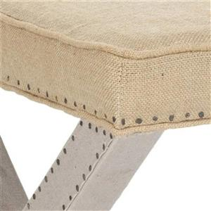 Safavieh Mercer Solid Palmer 19.00-in x 21.50-in Taupe Linen Ottoman with Flat Nailheads