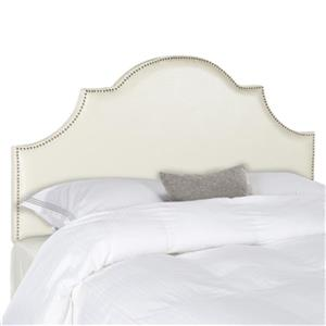 Safavieh Hallmar 53.70-in x 55.90-in Cream Faux Leather Arched Headboard