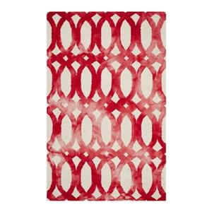 Dip Dye Hand-Tufted Wool Ivory and Red Area Rug