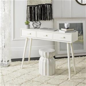 Safavieh Albus 3 Drawer Distressed White Pine Desert Brown Rectangular Console Table