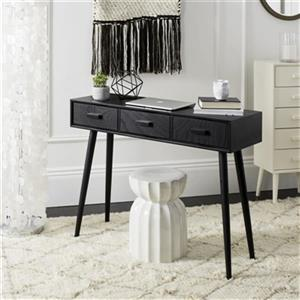Safavieh Albus 3 Drawer Black Pine Rectangular Console Table