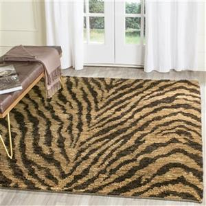 Bohemian Tiger Print Area Rug, Natural / Black