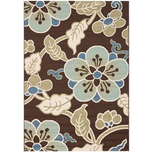 Safavieh Veranda  7.58-ft X 5.25 -ft Chocolate Aqua Area Rug