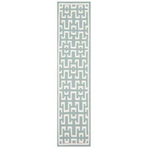 Dhurries Seafoam and Ivory Area Rug