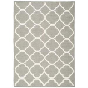 Dhurries Area Rug, Grey / Ivory