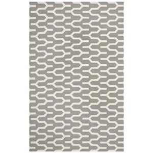 Dhurries Silver and Ivory Area Rug