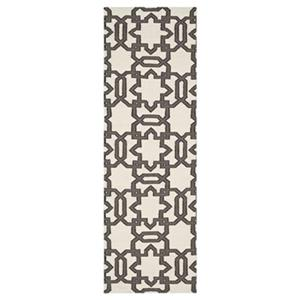 Dhurries Ivory and Grey Area Rug