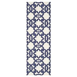 Dhurries Ivory and Purple Area Rug