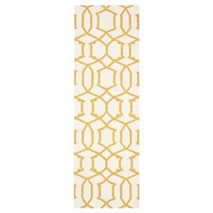 Dhurries Ivory and Yellow Area Rug