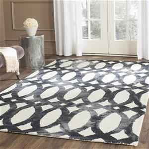 Dip Dye Hand-Tufted Wool Ivory and Graphite Area Rug