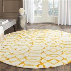 Dip Dye Hand-Tufted Wool Ivory and Gold Area Rug