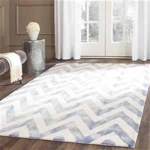 Dip Dye Hand-Tufted Wool Ivory and Blue Area Rug