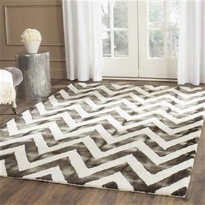 Dip Dye Hand-Tufted Wool Ivory and Charcoal Area Rug
