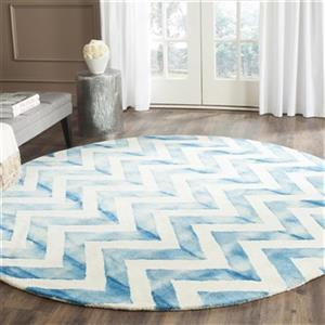 Dip Dye Hand-Tufted Wool Ivory and Turquoise Area Rug