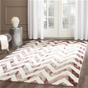 Dip Dye Hand-Tufted Wool Ivory and Maroon Area Rug